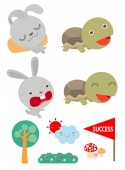 Set of Tortoise and the HareTurtle and rabbit racing together to win  Flat style isolated on white background vector illustration