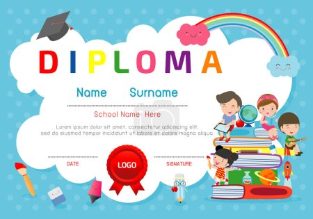 Illustration for Certificates kindergarten and elementary, Preschool Kids Diploma certificate pattern design template, Diploma template for kindergarten students, Certificate of kids diploma, vector illustration - Royalty Free Image