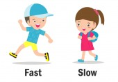 Opposite words fast and slow vector illustration Opposite English Words fast and slow on white background