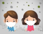 kids in masks because of fine dust PM 25 boy and girl wearing mask against smog Fine dust air pollution industrial smog protection concept flat style design vector illustration