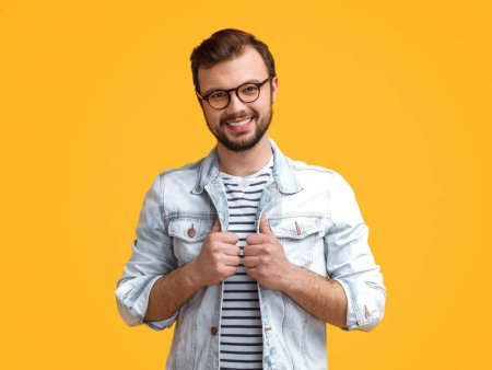 Cheerful male in stylish outfit