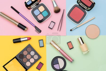 Photo for Collection of various decorative cosmetics for professional makeup placed against colorful background - Royalty Free Image