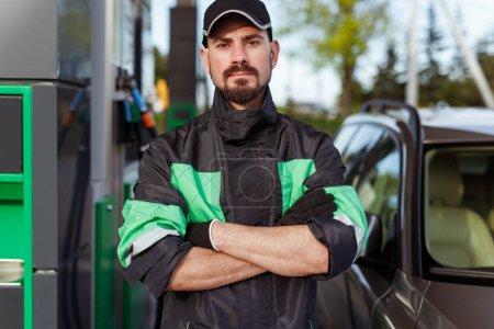 Self assured gas station worker