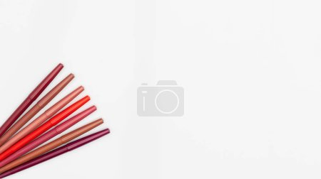 Photo for Bunch of various professional lip pencils placed on white background - Royalty Free Image