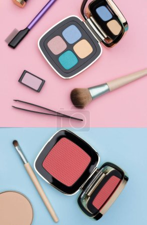 Photo for Assortment makeup accessories and compacts of decorative cosmetics placed on pink and blue background as illustration for fashion article - Royalty Free Image