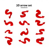 Collection 3d red arrows isolated on white background Information pointers set Vector illustration