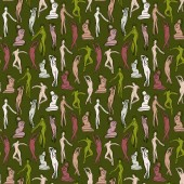 Seamless pattern with women silhouettes female nude body pattern sketch
