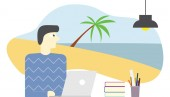 employee imagine or dreaming holiday in beach and relaxing in sea water vector illustration