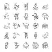 25 Fairy Tale II outlines vector icons