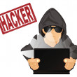 Hacker with laptop and red stamp...