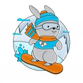 Cute Sketch Bunny with Snowboard Boots and Ski Glasses Funny Rabbit Snowboarder on a White Background Isolated Vector Illustration Free Hand Draw Freehand Drawing Extreme Winter Sports