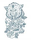 a huge wolf berserk with a human skull tattoo