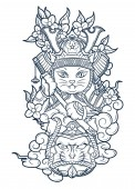 good cat samurai in fighting clothes of a fighter