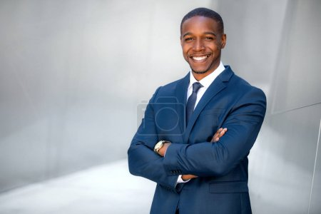 Photo for Portrait of male african american professional, possibly business executive corporate CEO, finance, attorney, lawyer, sales - Royalty Free Image