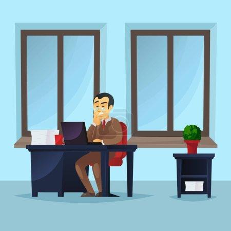 Homme d'affaires travaillant sur ordinateur portable au bureau. Gestionnaire portant costume d'affaires marron et cravate à l'intérieur du bureau avec de grandes fenêtres. Concept des hommes d'affaires d'entreprise, illustration vectorielle du personnel de l'entreprise.