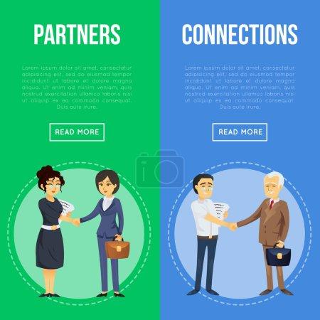Dépliants de coopération et de partenariat. Heureux hommes d'affaires et femmes d'affaires poignée de main. Réunion de gens d'affaires d'entreprise, relations avec les partenaires et travail d'équipe, illustration vectorielle de la vie au bureau.