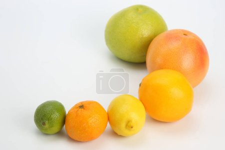 Different citrus fruits on white background...