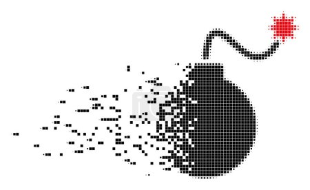 Illustration for Fractured bomb dotted vector icon with disintegration effect. Rectangular dots are arranged into damaging bomb shape. Pixel burst effect shows speed and motion of cyberspace items. - Royalty Free Image