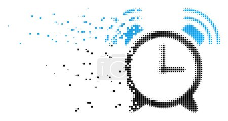 Illustration for Fractured buzzer dotted vector icon with disintegration effect. Rectangular points are composed into dissolving buzzer shape. - Royalty Free Image