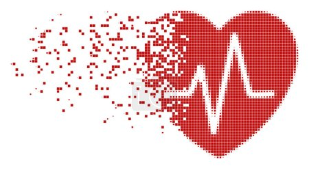 Cardiology Dissolving Pixel Icon