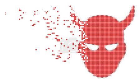 Illustration for Dissolved daemon head dotted vector icon with disintegration effect. Square pieces are combined into dissipated daemon head shape. - Royalty Free Image