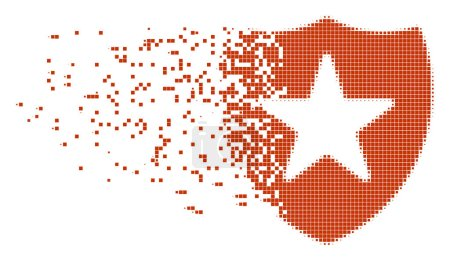 Illustration for Dissolved guard dot vector icon with disintegration effect. Rectangle cells are organized into dissolving guard figure. Pixel dissolution effect shows speed and motion of cyberspace items. - Royalty Free Image