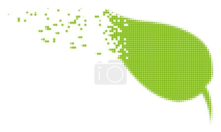 Illustration for Dissolved herbal leaf dot vector icon with disintegration effect. Rectangle particles are combined into damaging herbal leaf form. - Royalty Free Image
