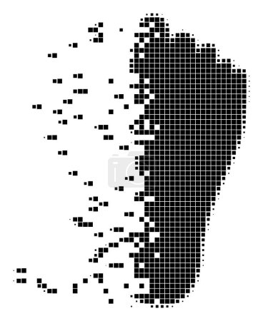 Illustration for Dissolved human footprint dot vector icon with disintegration effect. Square dots are organized into damaging human footprint shape. - Royalty Free Image
