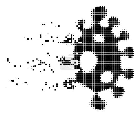 Illustration for Dissolved infection cell dot vector icon with disintegration effect. Square items are composed into damaging infection cell form. - Royalty Free Image