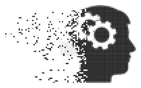 Intellect Gears Dissolving Pixel Icon