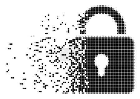 Illustration for Fractured lock dotted vector icon with disintegration effect. Rectangle fragments are grouped into disappearing lock shape. Pixel fragmentation effect shows speed and movement of cyberspace objects. - Royalty Free Image