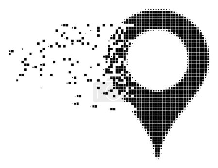 Illustration for Fractured map marker dot vector icon with disintegration effect. Rectangle pixels are organized into damaging map marker shape. Pixel dissipating effect shows speed and movement of cyberspace items. - Royalty Free Image