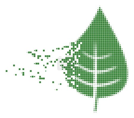 Illustration for Dissolved plant leaf dotted vector icon with disintegration effect. Rectangular dots are grouped into disappearing plant leaf form. - Royalty Free Image