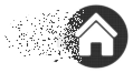 Illustration for Dissolved real estate dotted vector icon with disintegration effect. Square pieces are organized into disappearing real estate form. - Royalty Free Image