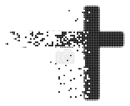Illustration for Dissolved religious cross dot vector icon with disintegration effect. Rectangle particles are grouped into dissolving religious cross form. - Royalty Free Image