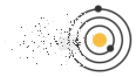Illustration for Dispersed Solar System dotted vector icon with disintegration effect. Rectangular pixels are grouped into dispersed Solar System shape. - Royalty Free Image