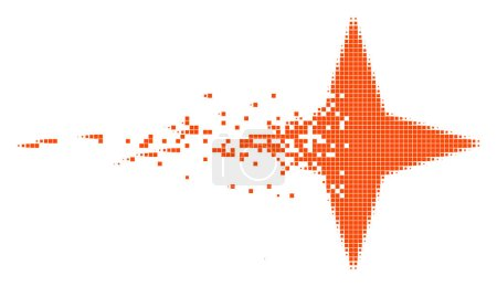 Illustration for Dissolved space star dotted vector icon with disintegration effect. Rectangle pixels are arranged into dissipated space star form. Pixel dust effect shows speed and motion of cyberspace objects. - Royalty Free Image