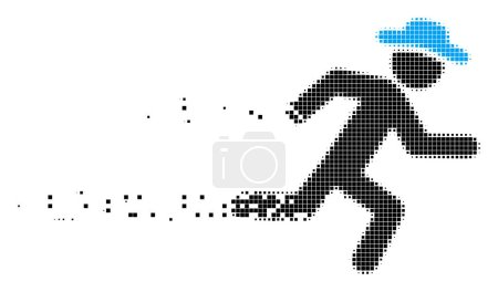 Illustration for Dissolved running gentleman dot vector icon with disintegration effect. Square cells are grouped into dissipated running gentleman figure. - Royalty Free Image