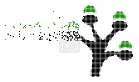 Illustration for Fractured money tree dotted vector icon with erosion effect. Square points are arranged into dissolving money tree form. Pixel dissolution effect shows speed and motion of cyberspace things. - Royalty Free Image