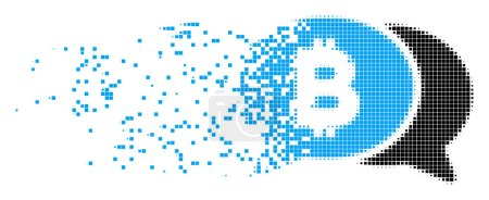 Bitcoin Chat Decomposed Pixel Icon