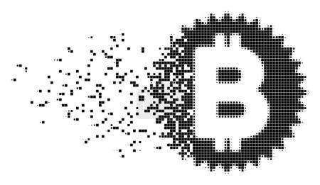 Bitcoin Medal Coin Damaged Pixel Icon
