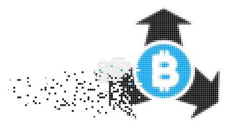Bitcoin Spend Arrows Dissolved Pixel Icon
