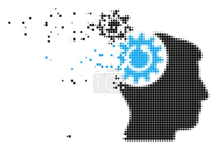 Illustration for Fractured head cogs rotation dotted vector icon with wind effect. Square particles are composed into dispersed head cogs rotation figure. - Royalty Free Image