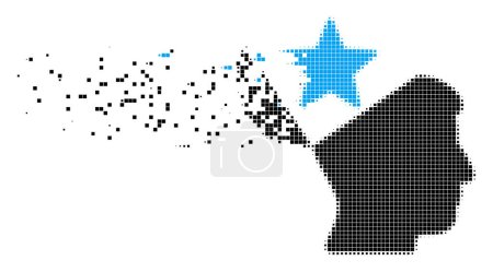 Illustration for Dissolved open head star dot vector icon with destruction effect. Square points are grouped into dissipated open head star figure. Pixel dissolving effect shows speed and movement of cyberspace items. - Royalty Free Image