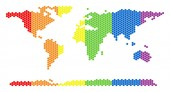 LGBT Spectrum Dotted World Continent Map