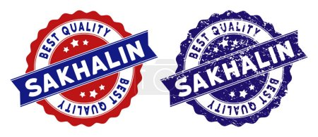Sakhalin Island Best Quality Stamp with Grunge Surface