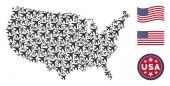 USA Map Stylization of Air Plane