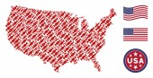 United States Map Stylized Composition of Candy