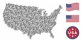 USA Map Stylized Composition of Ear