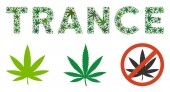 Trance Caption Mosaic of Weed Leaves